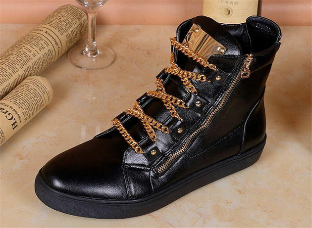 High Quality Gold Chain Lace Up High Tops - TrendSettingFashions