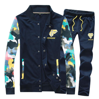 Men's Fashion Camouflage Patchwork Tracksuit - TrendSettingFashions