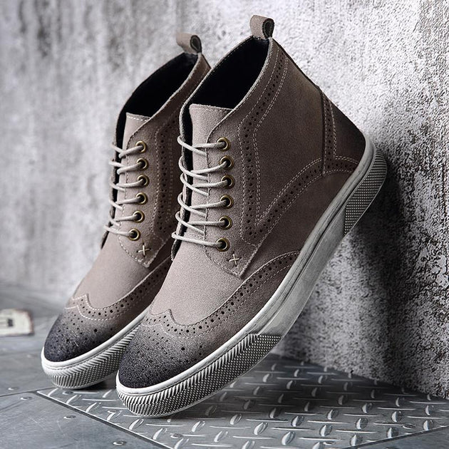 Men's Lace Up Ankle Oxford Boots - TrendSettingFashions