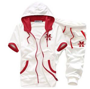 Men's Short Sleeve Hooded Tracksuit Set