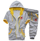 Men's Short Sleeve Hooded Tracksuit Set - TrendSettingFashions