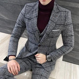 Men's 2 Piece British Style Plaid Suit - TrendSettingFashions