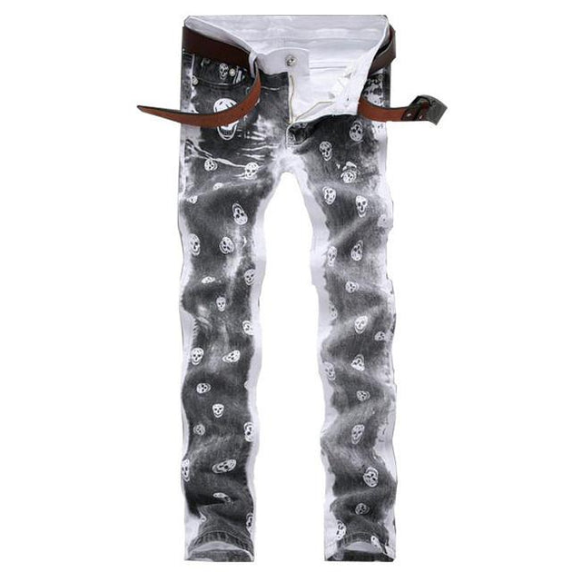 Men's Skull Pattern Jeans - TrendSettingFashions