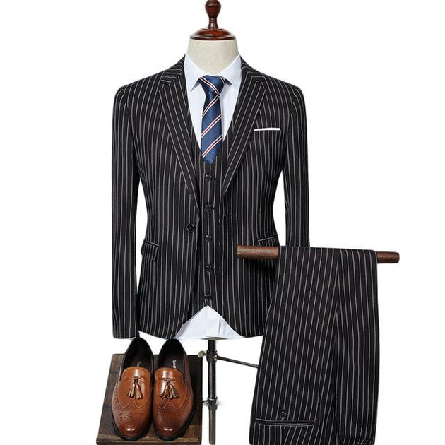 Men's Striped 3 Piece Elegant Men's Suit - TrendSettingFashions