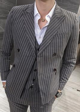 Men's Double Breasted 2 Piece Stripe Suit Up To 5XL - TrendSettingFashions