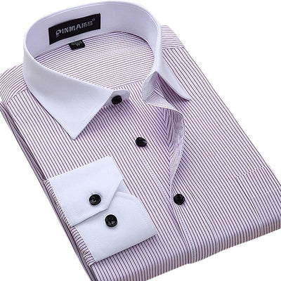 Men's Cotton Business Dress Shirt Up To 6XL - TrendSettingFashions