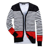 Men's Striped V-Neck Cardigan Up To 5XL - TrendSettingFashions