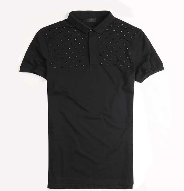 Men's Black Rivet Decorative T-Shirt - TrendSettingFashions