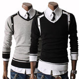 Men's V-Neck Side Button Pull Over Sweater - TrendSettingFashions