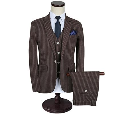 Men's Three Piece Stripe Suit Up To Size 5XL - TrendSettingFashions