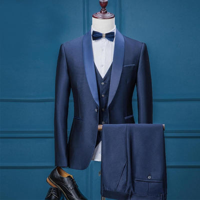 Men's 3 Piece Blue Tuxedo With Matching Lapel Up To 3XL (Jacket + Vest + Pants) - TrendSettingFashions