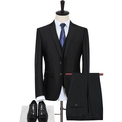 Men's Three-Piece Solid Black Suit Up To 3XL - TrendSettingFashions
