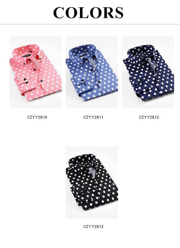 Men's Casual Polka Dot Dress Shirt - TrendSettingFashions