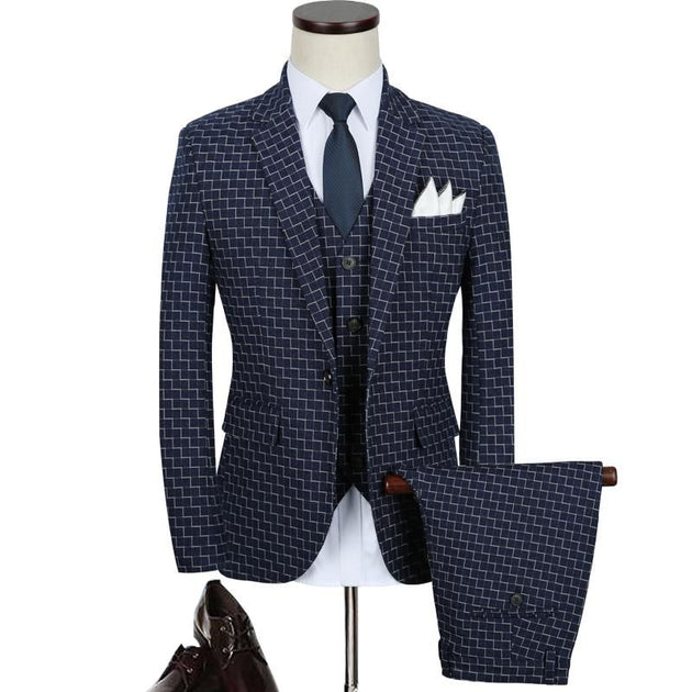 Men's Plaid Suit Up To 5XL - TrendSettingFashions