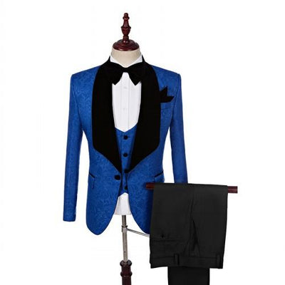 Men's 3 Piece Tuxedo In 8 Colors Up To 5XL(Jacket+Pants+ Bow Tie+Vest) - TrendSettingFashions