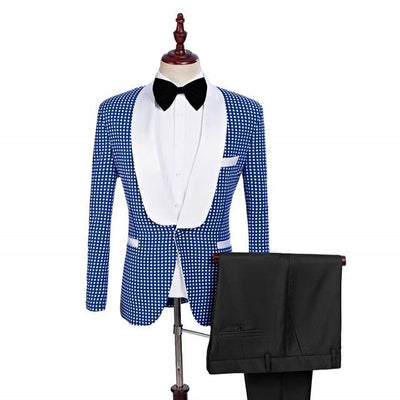 Men's Lapel Tuxedos In 3 Colors Up To Size 5XL ( Jacket+Pants+Bow Tie )