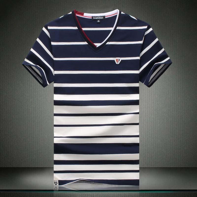 Men's Summer Striped V-Neck Up To 5XL - TrendSettingFashions
