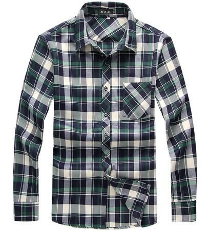 Men's Casual Long Sleeve Plaid Shirt Up To 6XL - TrendSettingFashions