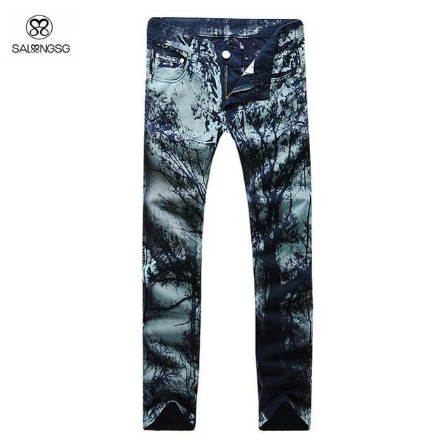 Men's Painted Print Jeans - TrendSettingFashions