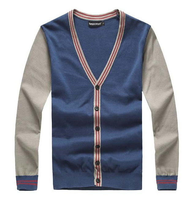 Men's V-Neck Patchwork Striped Cardigan Up To 5XL - TrendSettingFashions