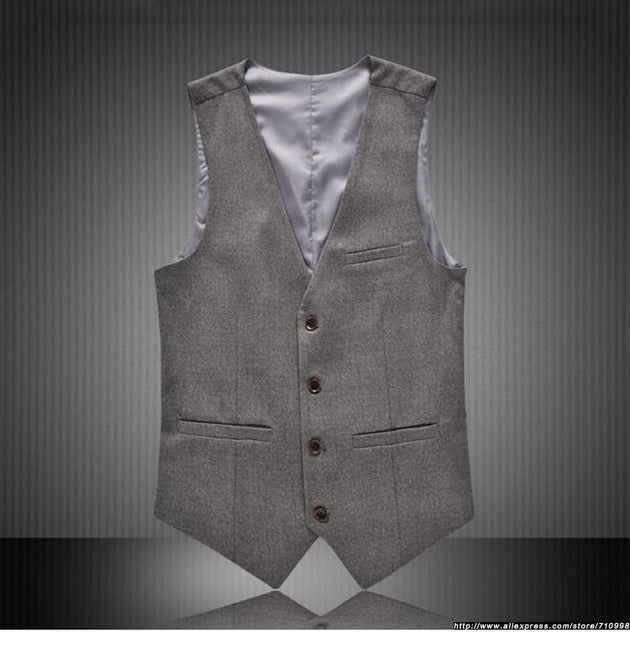 Men's Luxury Solid Color V-Neck Vest - TrendSettingFashions
