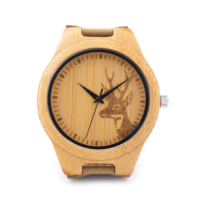 Men's Natural Wood Engraved Elk Head Watch - TrendSettingFashions