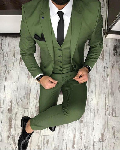 Men's Green 3 Piece Custom Tuxedo Up To 6XL(Jacket, Vest, Pants) - TrendSettingFashions
