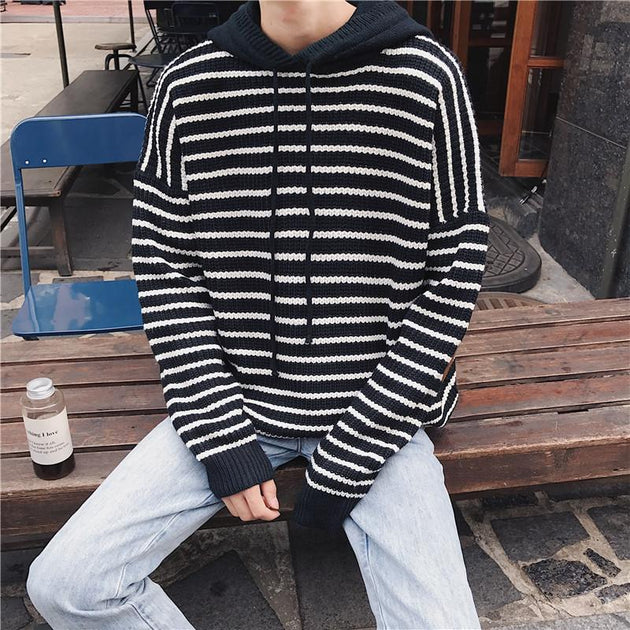 Men's Hooded Loose Long Sleeve Sweater