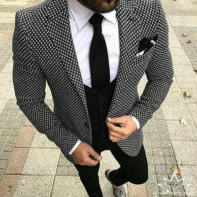 Men's Checkered Black Pattern 3 Piece Suit Up To 6XL(Jacket, Pants,Vest) - TrendSettingFashions