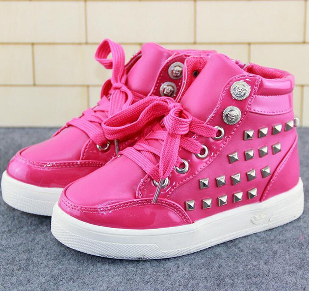 Kids High Top Rivet Lace Ups - TrendSettingFashions