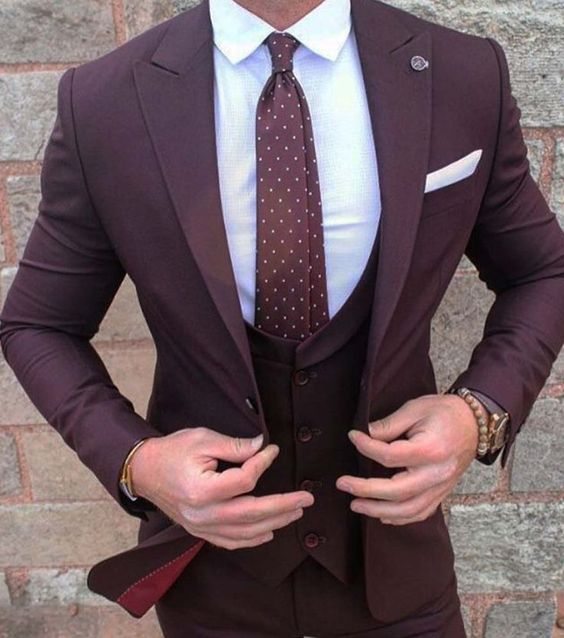 Men's 3PC Burgundy Suit Up To 6XL - TrendSettingFashions