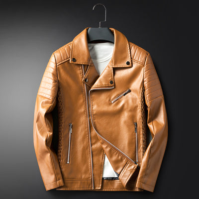 Men's Leather Turn Down Collar Jacket - TrendSettingFashions