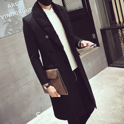 Men's Double Breasted Long Coat - TrendSettingFashions