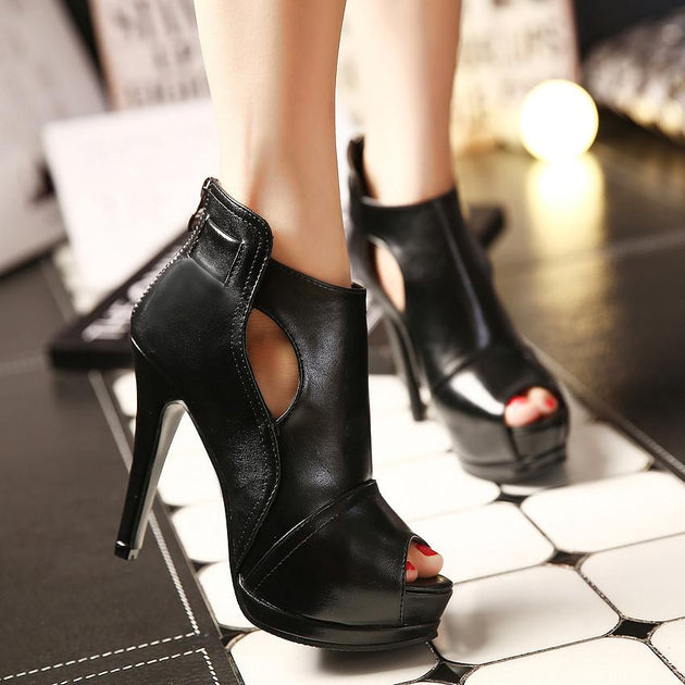 Women's Open Toe Ankle Boots - TrendSettingFashions