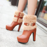 Women's Square Fur Platform Heels - TrendSettingFashions