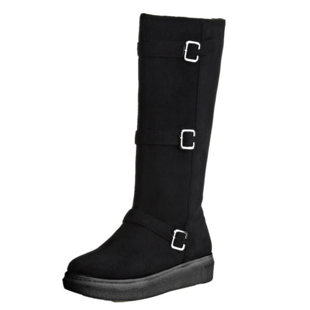 Women's Sexy Mid-Calf Flock Boot - TrendSettingFashions