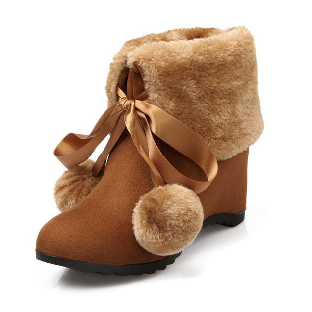 Women's Wool Plush High Heel Ankle Boots - TrendSettingFashions