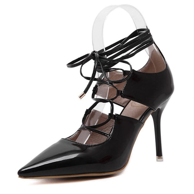 Women's Lacing Pointed Toe Pumps - TrendSettingFashions