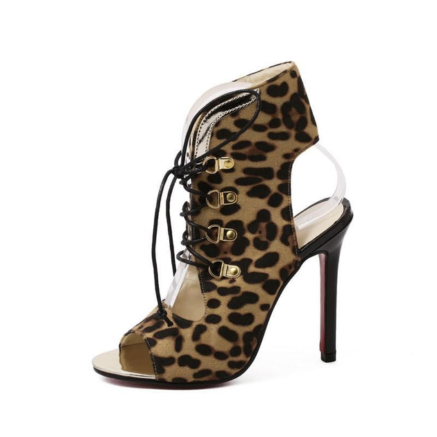 Women's Leopard Open Toe Ankle Boots - TrendSettingFashions