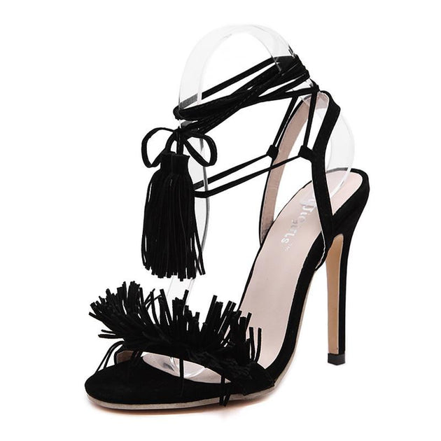 Women's Ankle Tassel Strap High Heels - TrendSettingFashions