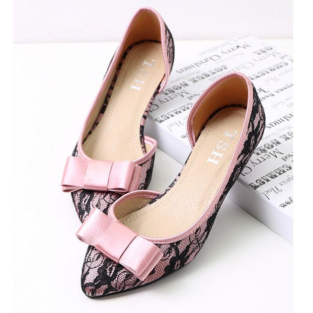 Women's Bowtie Pointed Toe Flats - TrendSettingFashions