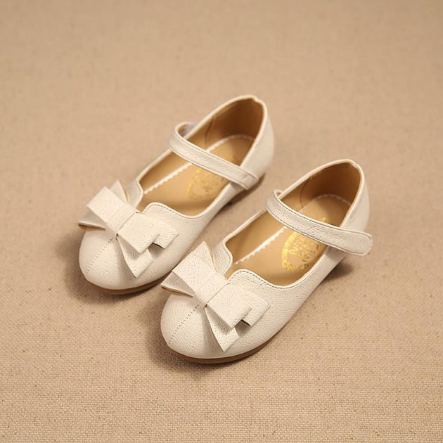 Girls BowTie Leather Slip On's - TrendSettingFashions