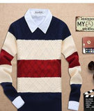Men's Thick Round Neck Muti Colored Sweater - TrendSettingFashions