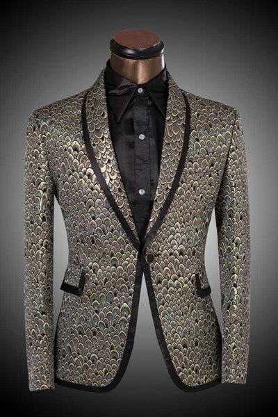 Men's Golden And Silver Scale Designer Suits Up To 6XL - TrendSettingFashions   - 1