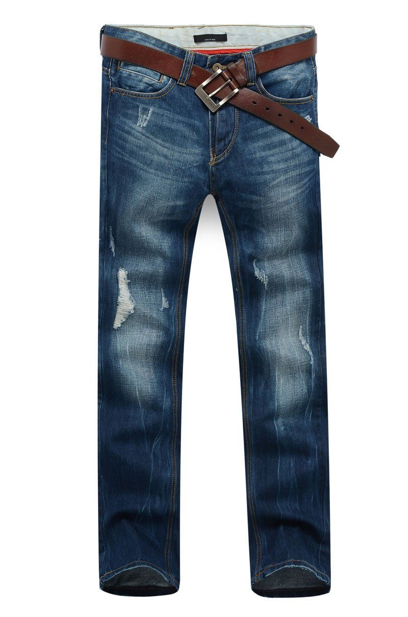 Men's Dark Blue Straight Jeans With Small Rips - TrendSettingFashions   - 2