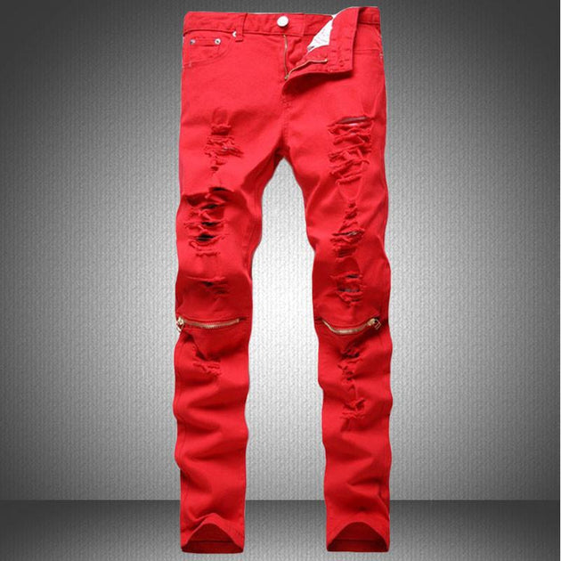 Men's Red, Orange Or Blue Denim Ripped Fashion Jeans - TrendSettingFashions