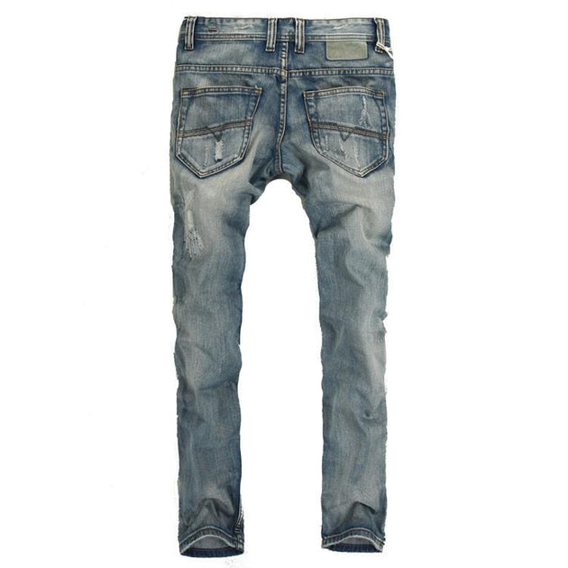 Men's Light Washed Ripped Grey Jeans - TrendSettingFashions