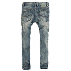 Men's Light Washed Ripped Grey Jeans - TrendSettingFashions   - 2
