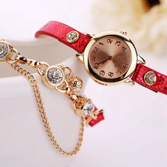 Women's Leather Strap Glass Jewel Watch In 8 Colors - TrendSettingFashions   - 10