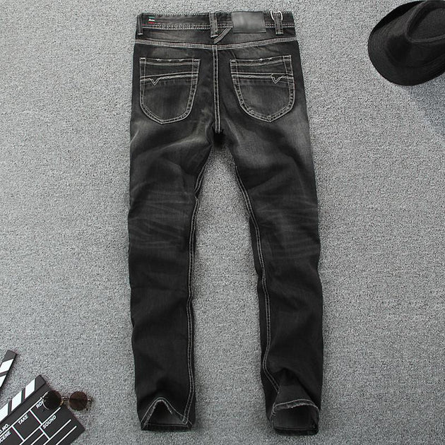 Men's Dark Colored Straight Jeans - TrendSettingFashions